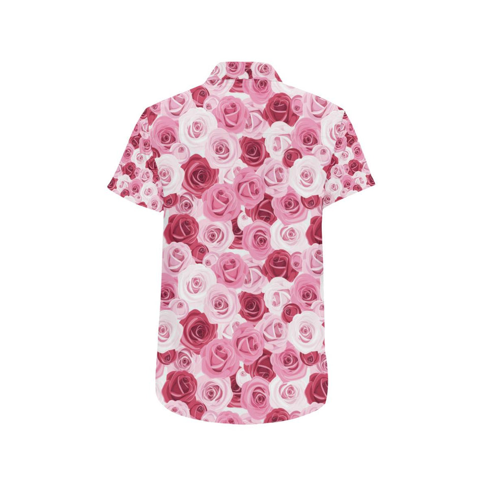 Pink Red Rose Pattern Print Button Up Shirt-kunshirts.com