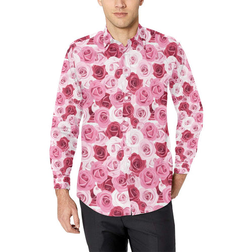 Pink Red Rose Pattern Print Long Sleeve Dress Shirt-kunshirts.com
