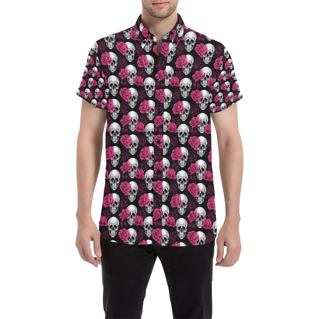 Pink Rose Skull Themed Print Button Up Shirt-kunshirts.com
