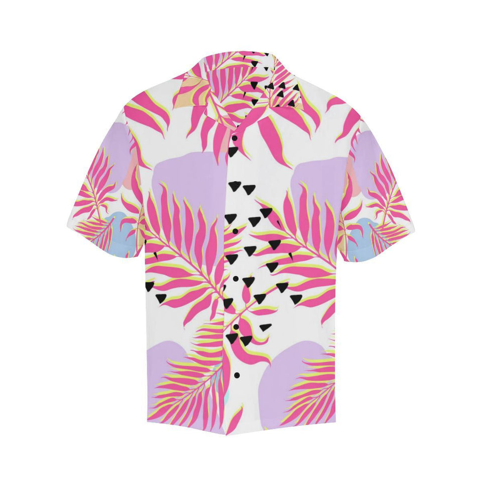 Pink Tropical Palm Leaves Hawaiian Shirt-kunshirts.com