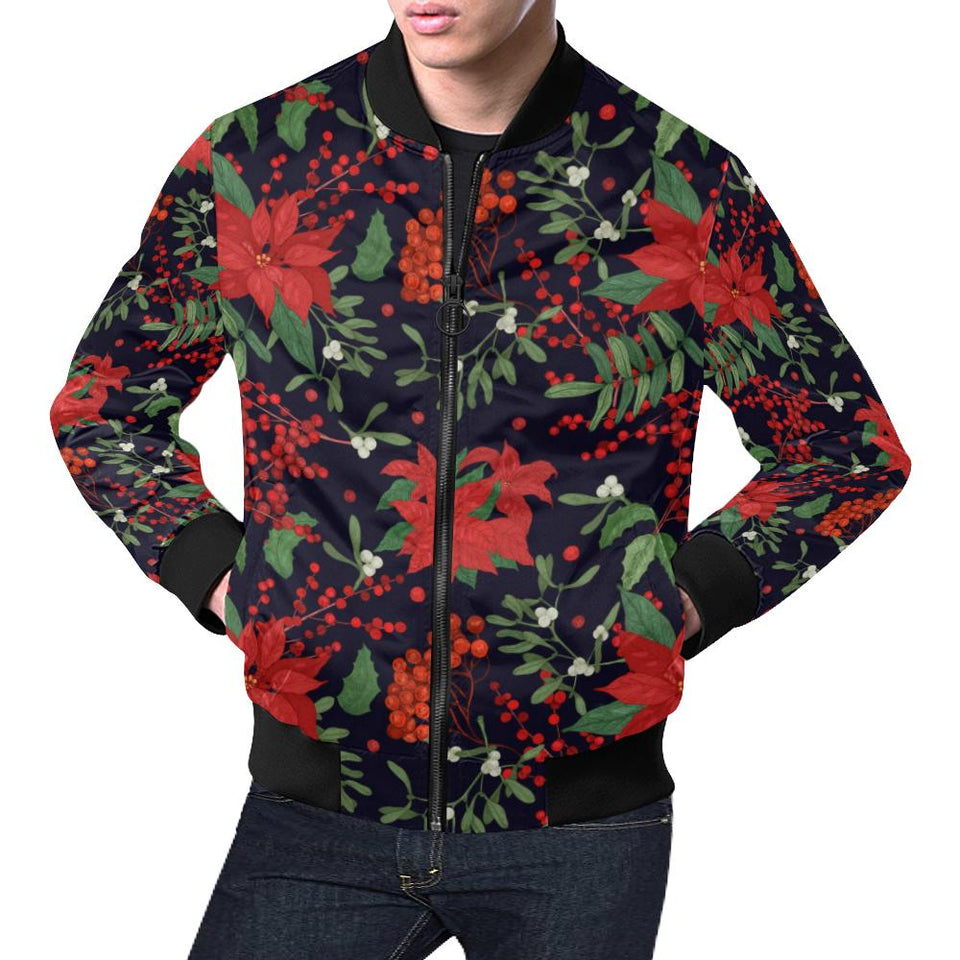 Poinsettia Pattern Print Design POT02 Men Bomber Jacket-kunshirts.com