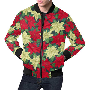Poinsettia Pattern Print Design POT06 Men Bomber Jacket-kunshirts.com