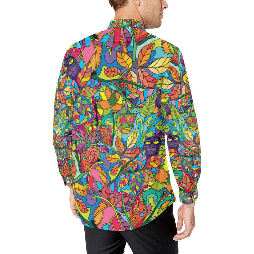 Psychedelic Trippy Flower Print Long Sleeve Dress Shirt-kunshirts.com