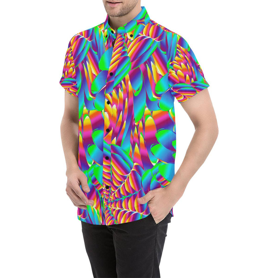 Psychedelic Trippy Pattern Button Up Shirt-kunshirts.com