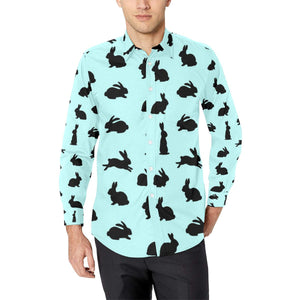 Rabbit Pattern Print Design RB010 Long Sleeve Dress Shirt-kunshirts.com