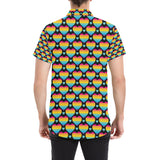 Rainbow Heart Print Pattern Button Up Shirt-kunshirts.com