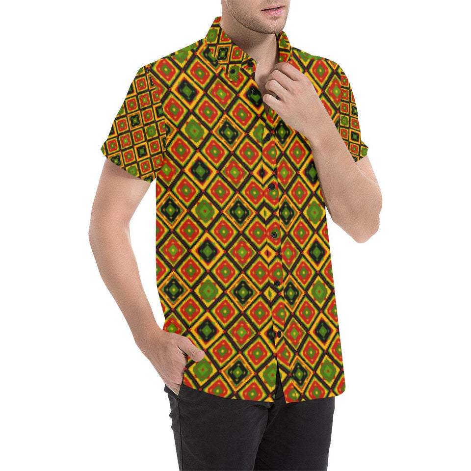 Rasta Reggae Color Pattern Button Up Shirt-kunshirts.com