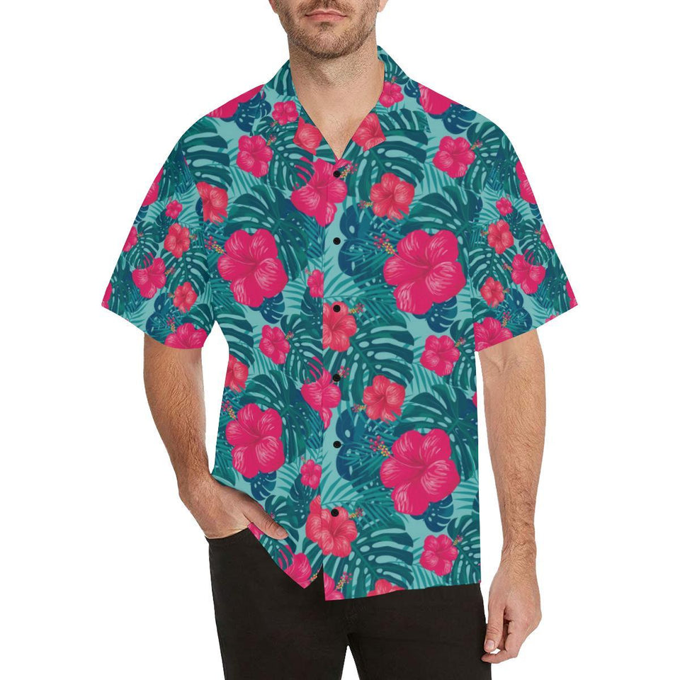 Red Hibiscus Pattern Print Design HB017 Hawaiian Shirt-kunshirts.com