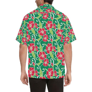 Red Hibiscus Pattern Print Design HB019 Hawaiian Shirt-kunshirts.com
