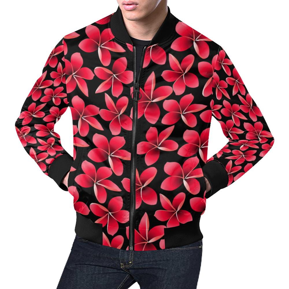 Red Plumeria Pattern Print Design PM025 Men Bomber Jacket-kunshirts.com