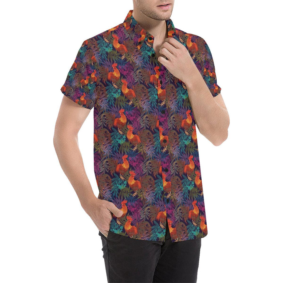 Rooster Print Style Button Up Shirt-kunshirts.com