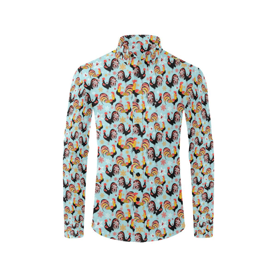 Rooster Themed Design Long Sleeve Dress Shirt-kunshirts.com