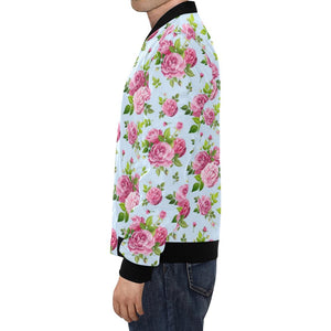 Rose Pink Pattern Print Design RO08 Men Bomber Jacket-kunshirts.com