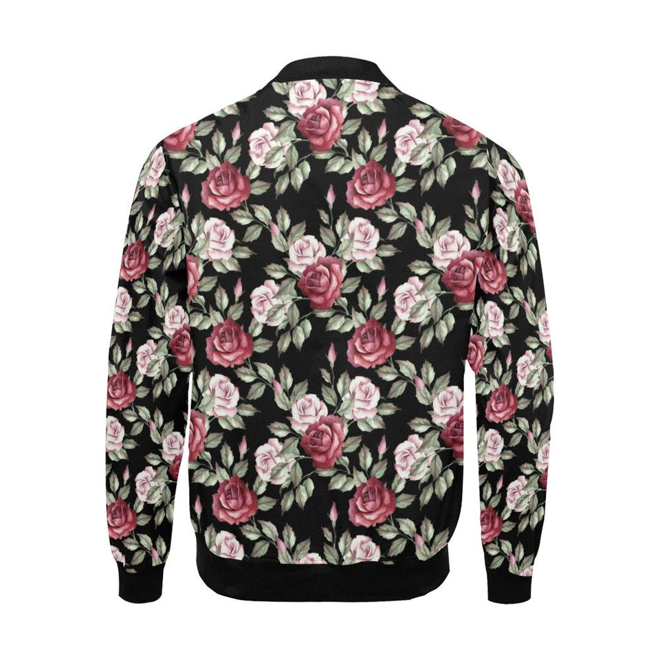 Rose Red Pink Pattern Print Design RO03 Men Bomber Jacket-kunshirts.com