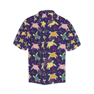 Sea Turtle Color Smile Hawaiian Shirt-kunshirts.com