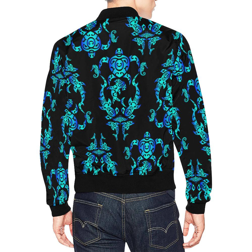 Sea turtle Polynesian Tribal Hawaiian Men Bomber Jacket-kunshirts.com