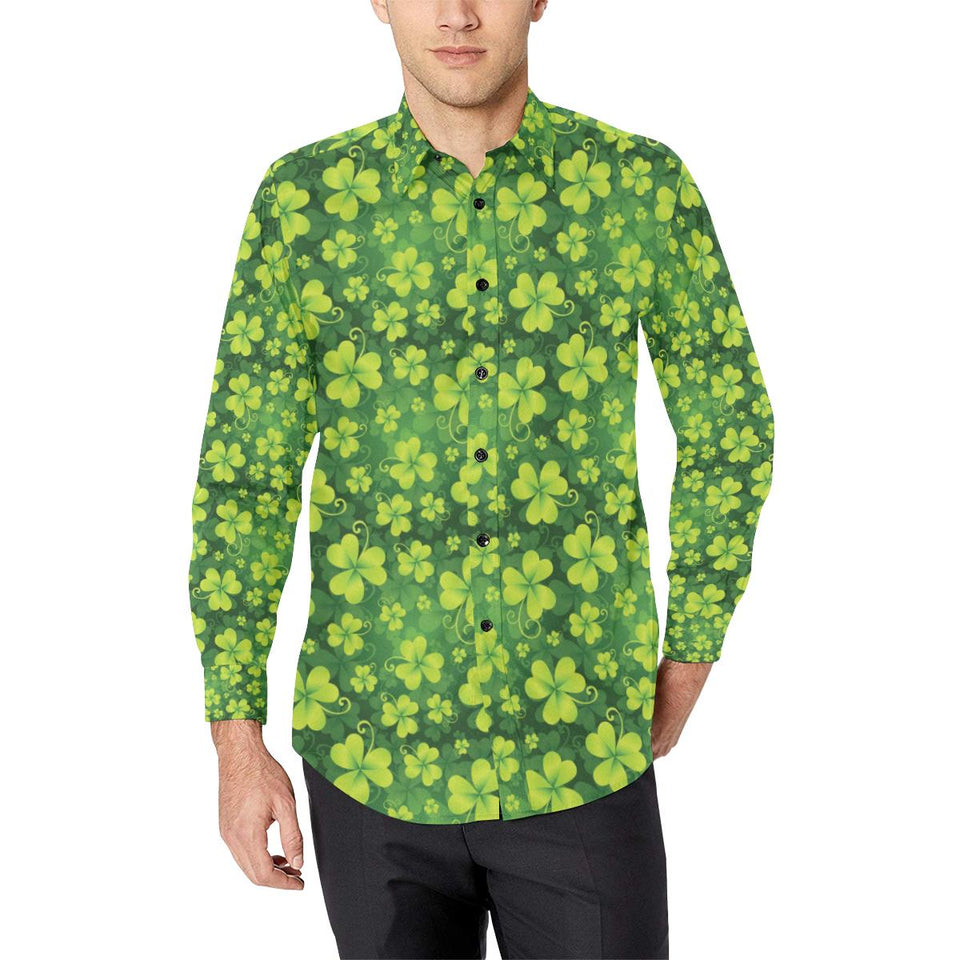 Shamrock Clover Print Long Sleeve Dress Shirt-kunshirts.com