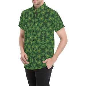 Shamrock Pattern Button Up Shirt-kunshirts.com