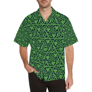 Shamrock Themed Print Hawaiian Shirt-kunshirts.com