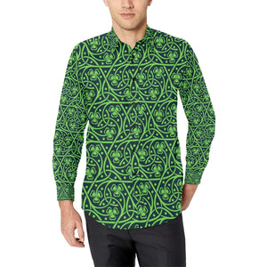 Shamrock Themed Print Long Sleeve Dress Shirt-kunshirts.com