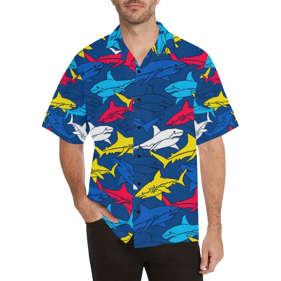 Shark Color Pattern Hawaiian Shirt-kunshirts.com