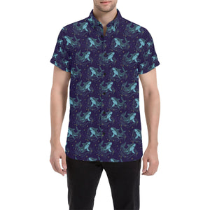 Shark Themed Print Button Up Shirt-kunshirts.com