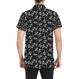 Skeleton Style Print Button Up Shirt-kunshirts.com