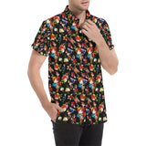 Skull Roses Flower Design Themed Print Button Up Shirt-kunshirts.com