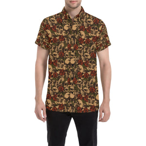 Skull Roses Vintage Design Themed Print Button Up Shirt-kunshirts.com