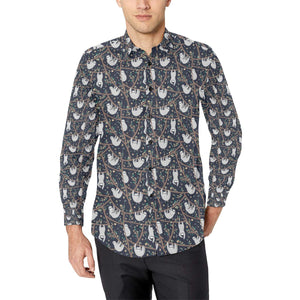 Sloth Happy Design Themed Print Long Sleeve Dress Shirt-kunshirts.com