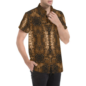 Snake Skin Brown Print Button Up Shirt-kunshirts.com