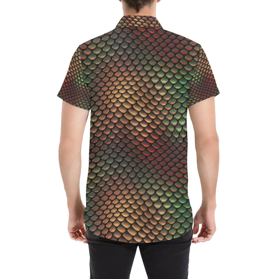 Snake Skin Colorful Print Button Up Shirt-kunshirts.com