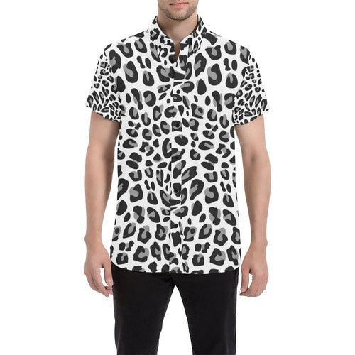 Snow Leopard Skin Print Button Up Shirt-kunshirts.com