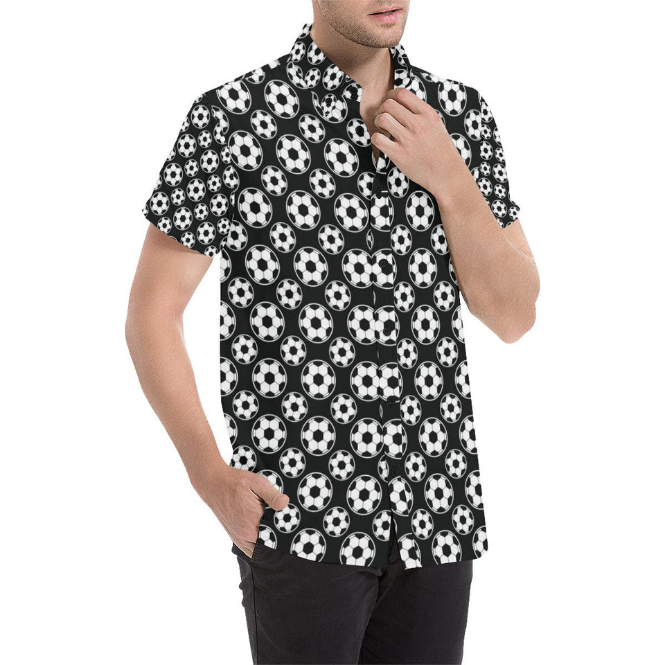 Soccer Ball Black Print Pattern Button Up Shirt-kunshirts.com