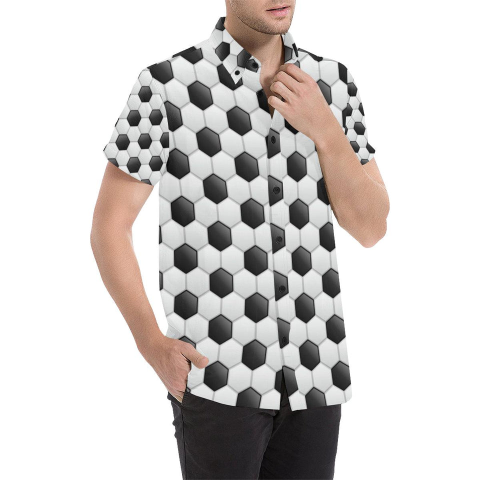 Soccer Ball Texture Print Pattern Button Up Shirt-kunshirts.com