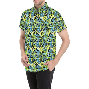 Soccer Ball Themed Print Design Button Up Shirt-kunshirts.com