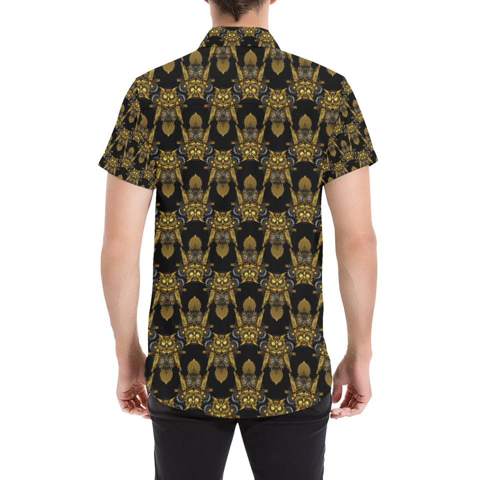 Steampunk Gold Owl Design Themed Print Button Up Shirt-kunshirts.com