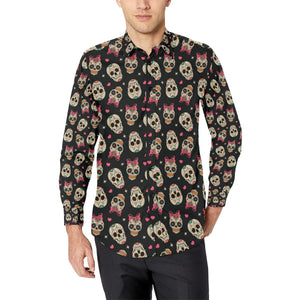 Sugar Skull Pink Bow Themed Print Long Sleeve Dress Shirt-kunshirts.com