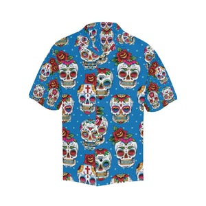 Sugar Skull Rose Pattern Hawaiian Shirt-kunshirts.com