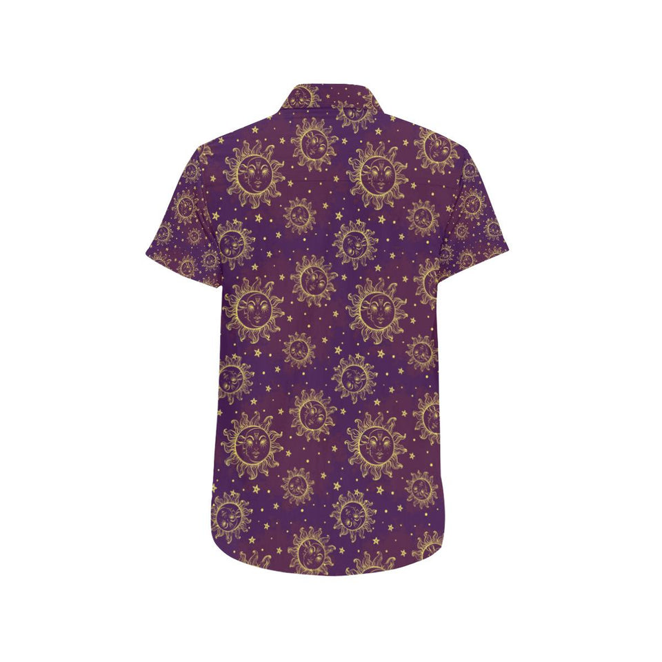 Sun Moon Star Design Themed Print Button Up Shirt-kunshirts.com