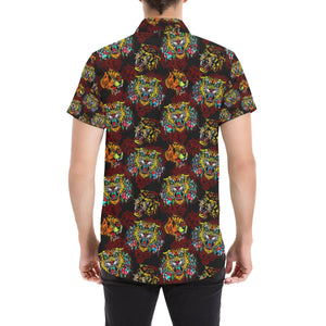 Tattoo Tiger Colorful Design Button Up Shirt-kunshirts.com