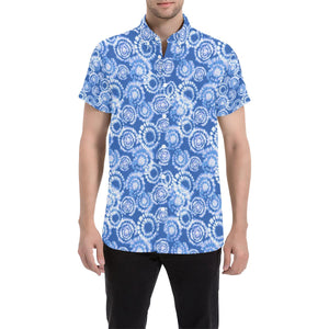 Tie Dye Blue Design Print Button Up Shirt-kunshirts.com