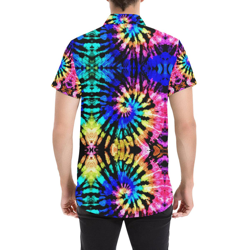 Tie Dye Rainbow Design Print Button Up Shirt-kunshirts.com
