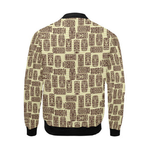 Tiki Brown Mask Print Men Bomber Jacket-kunshirts.com