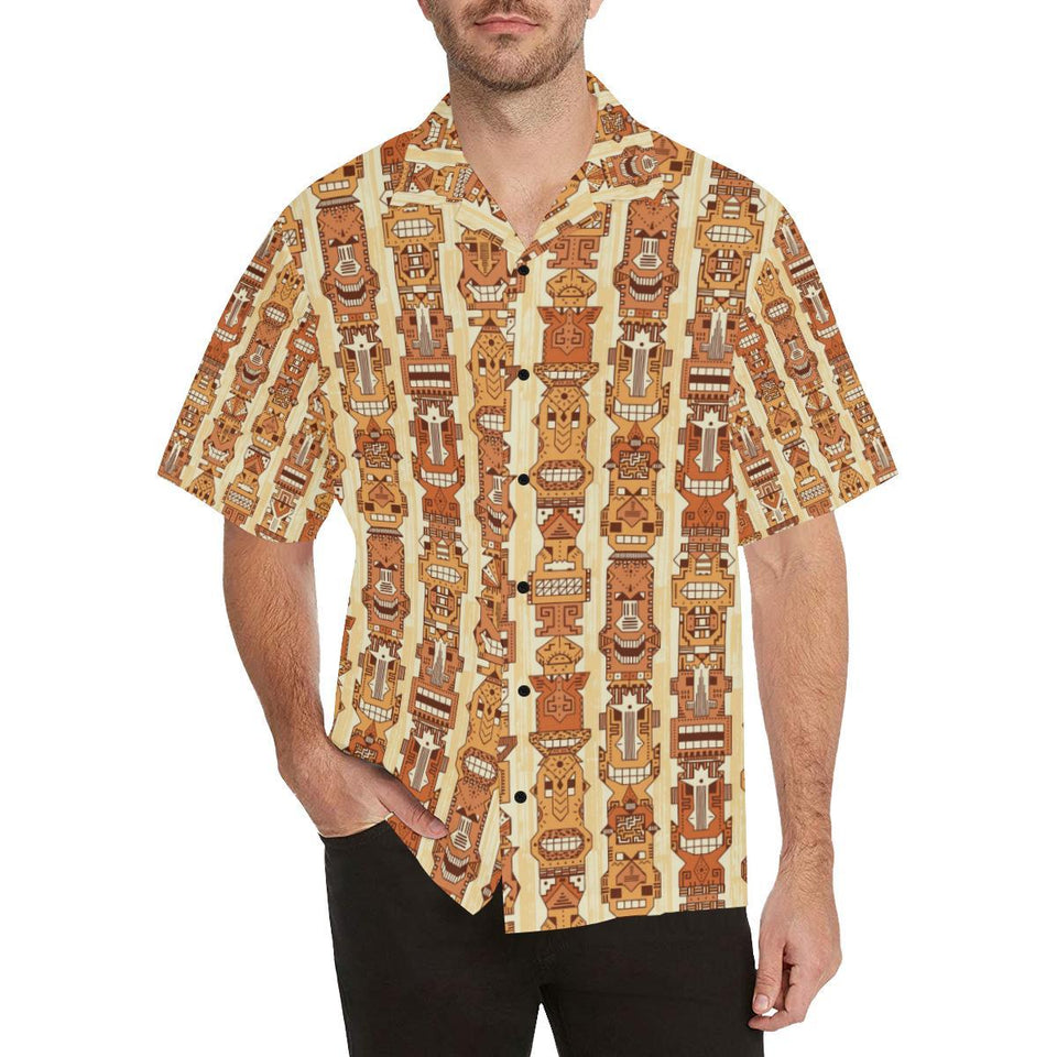 Tiki Orange Vertical Pattern Hawaiian Shirt-kunshirts.com