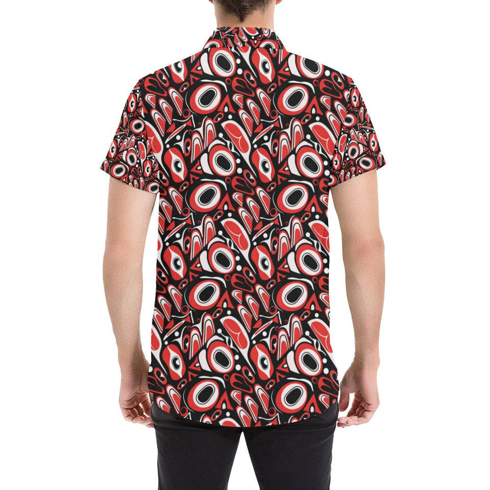 Totem Pole Texture Design Button Up Shirt-kunshirts.com