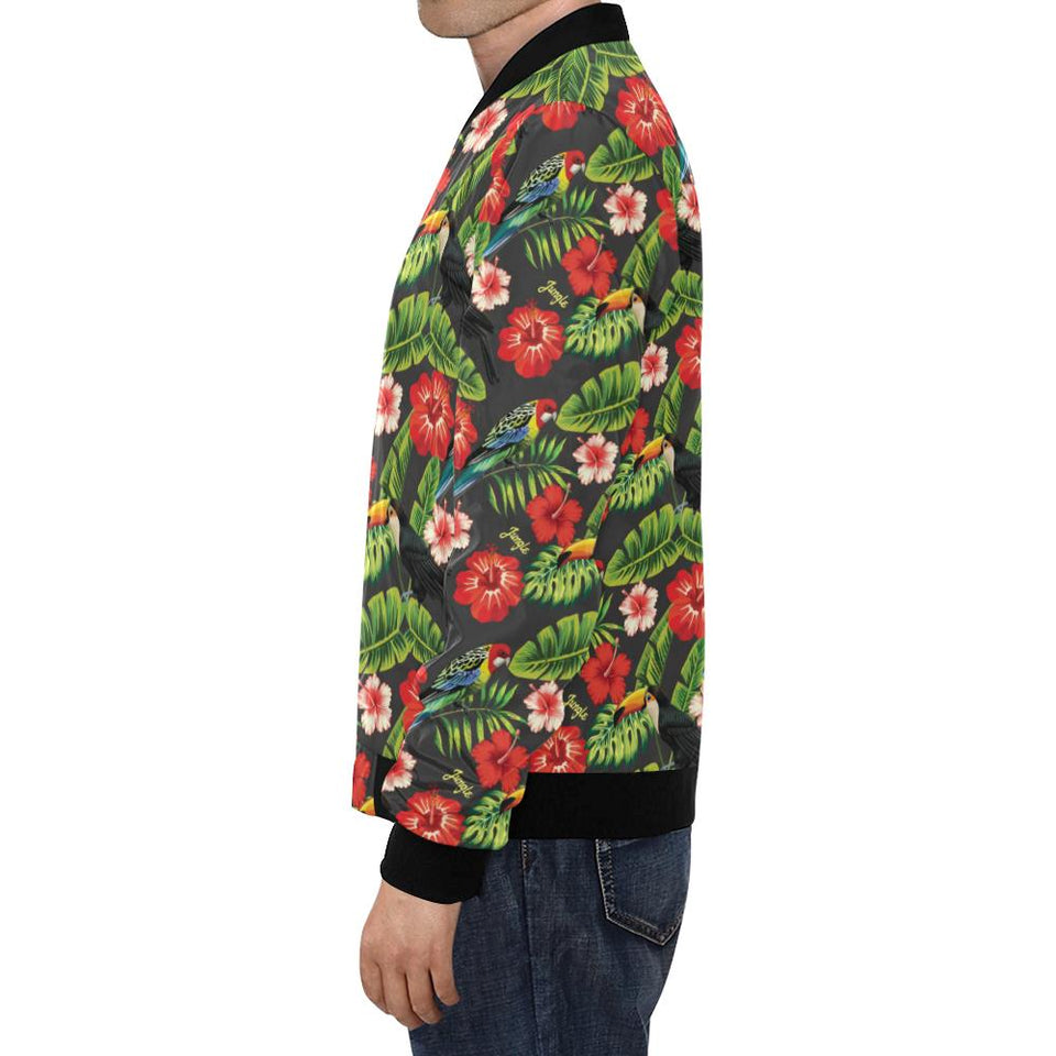Tropical Flower Pattern Print Design TF04 Men Bomber Jacket-kunshirts.com
