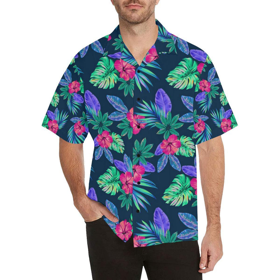 Tropical Flower Pattern Print Design TF09 Hawaiian Shirt-kunshirts.com
