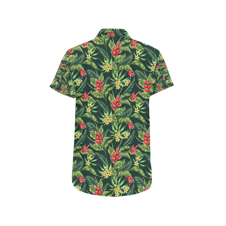 Tropical Folower Red Heliconia Print Button Up Shirt-kunshirts.com