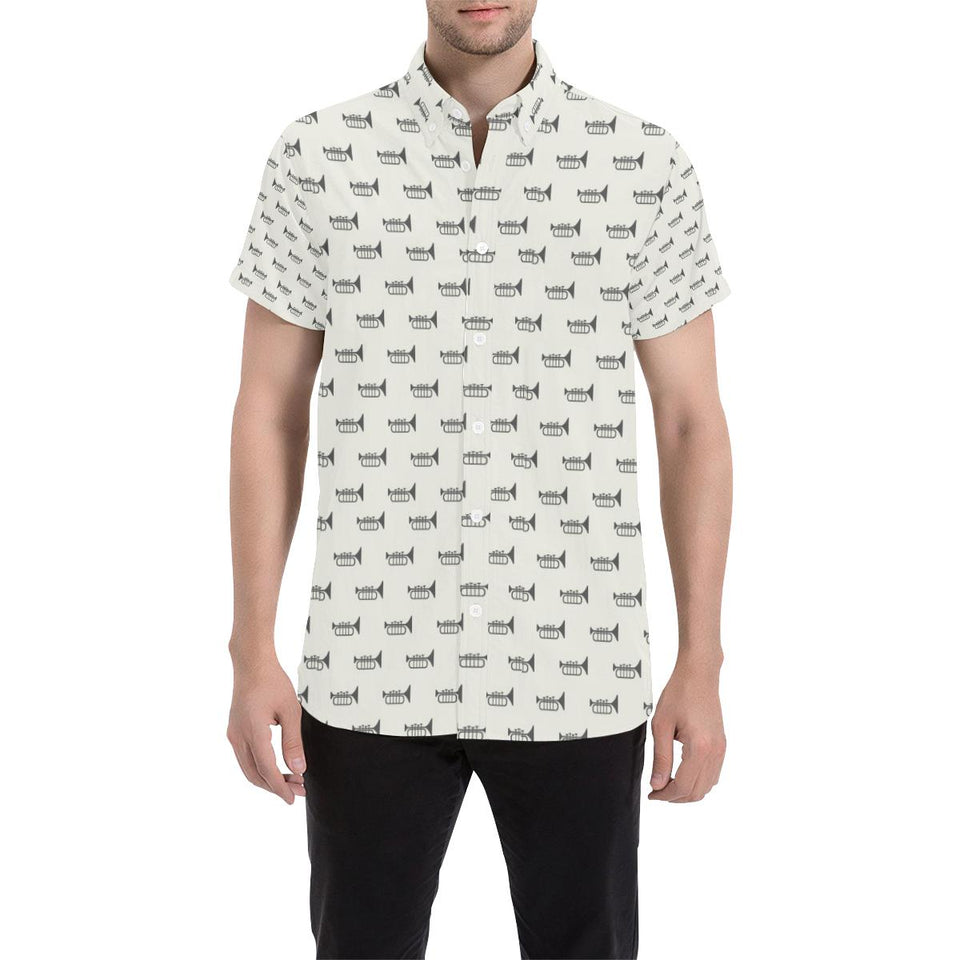 Trumpet Pattern Themed Print Button Up Shirt-kunshirts.com